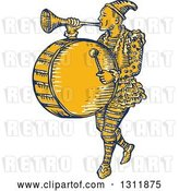 Vector Clip Art of Retro Sketched Clown Playing a Trumpet and Drum by Patrimonio