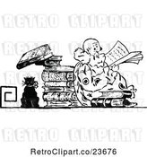Vector Clip Art of Retro Sketched Clown Reading by Prawny Vintage