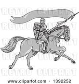 Vector Clip Art of Retro Sketched Grayscale Horseback Knight Holding a Lance, Shield and Flag by Patrimonio