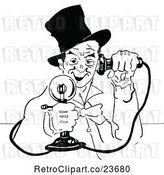 Vector Clip Art of Retro Sketched Guy Using a Candlestick Phone by Prawny Vintage