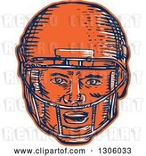 Vector Clip Art of Retro Sketched or Engraved Blue White and Orange American Football Player Head in a Helmet by Patrimonio