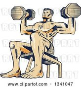 Vector Clip Art of Retro Sketched or Engraved Bodybuilder Sitting on a Bench and Doing Shoulder Presses with Dumbbells by Patrimonio