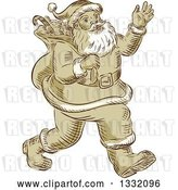 Vector Clip Art of Retro Sketched or Engraved Christmas Santa Walking and Waving by Patrimonio