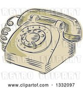 Vector Clip Art of Retro Sketched or Engraved Table Top Rotary Telephone by Patrimonio