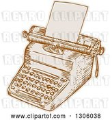 Vector Clip Art of Retro Sketched or Engraved Typewriter with Paper Loaded by Patrimonio