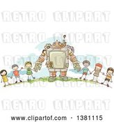 Vector Clip Art of Retro Sketched Steampunk Robot and Stick Children Holding Hands Outside by BNP Design Studio