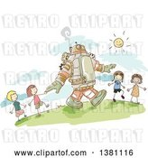Vector Clip Art of Retro Sketched Steampunk Robot and Stick Children Walking Outside by BNP Design Studio