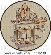 Vector Clip Art of Retro Sketched Tailor Machinist Upholsterer Using a Sewing Machine Inside a Circle by Patrimonio