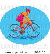 Vector Clip Art of Retro Sketched White Female Cyclist in a Blue Oval by Patrimonio
