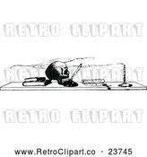 Vector Clip Art of Retro Skull and Boks on a Desk by Prawny Vintage
