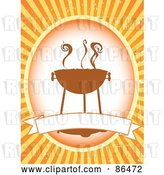 Vector Clip Art of Retro Smoking Bbq Label with a Blank Banner over Orange by Mheld