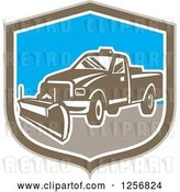 Vector Clip Art of Retro Snow Plow Truck in a Brown White and Blue Shield by Patrimonio