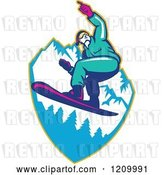 Vector Clip Art of Retro Snowboarder Catching Air over Mountains by Patrimonio