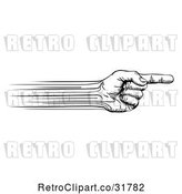 Vector Clip Art of Retro Speed Lines Creating a Pointing Hand by AtStockIllustration