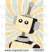 Vector Clip Art of Retro Springy Beige Robot over Swirls by Mheld