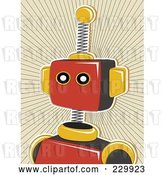 Vector Clip Art of Retro Springy Red Robot over a Tan Burst by Mheld