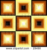 Vector Clip Art of Retro Square Patterned Background of White, Yellow, Orange, Brown and Black Squares by KJ Pargeter
