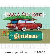 Vector Clip Art of Retro Station Wagon with Presents a Tree and a Christmas Sign by Patrimonio