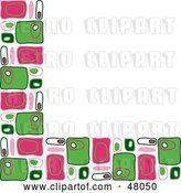 Vector Clip Art of Retro Stationery Border or Corner of Pink and Green Rectangles on White by Prawny