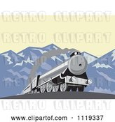 Vector Clip Art of Retro Steam Engine Train in the Mountains by Patrimonio