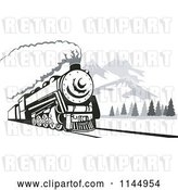 Vector Clip Art of Retro Steam Engine Train near Mountains by Patrimonio