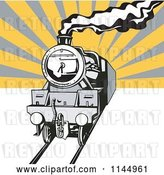 Vector Clip Art of Retro Steam Engine Train over Rays by Patrimonio