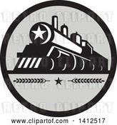 Vector Clip Art of Retro Steam Engine Train with a Star on the Front, Inside a Black and Gray Circle by Patrimonio