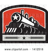 Vector Clip Art of Retro Steam Engine Train with a Star on the Front, Inside a Black White Gray and Red Crest by Patrimonio