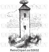 Vector Clip Art of Retro Stork Nest on a Tower in by Picsburg
