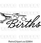 Vector Clip Art of Retro Stork with a Baby and the Word Births by Prawny Vintage