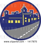 Vector Clip Art of Retro Street and City Skyline in a Blue and Orange Circle by Patrimonio