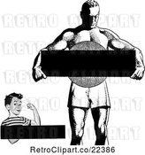 Vector Clip Art of Retro Strong Boy and Guy with Copyspace by BestVector