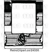 Vector Clip Art of Retro Strong Guy Holding a Sign over Books by Prawny Vintage