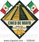 Vector Clip Art of Retro Styled Cinco De Mayo Design with El Castillo Pyramid, Flags and Tortilla Chips by Vector Tradition SM