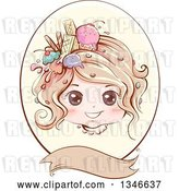 Vector Clip Art of Retro Styled Dirty Blond White Girl with Ice Cream and Sweets in Her Hair, Inside an Oval Frame with a Blank Banner by BNP Design Studio