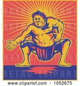 Vector Clip Art of Retro Sumo Wrestler Against Red and Yellow Rays by Patrimonio