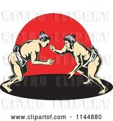 Vector Clip Art of Retro Sumo Wrestling Match over Red by Patrimonio