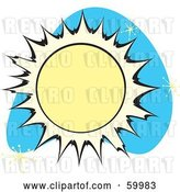 Vector Clip Art of Retro Sun on Blue with Stars by Xunantunich