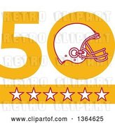 Vector Clip Art of Retro Super Bowl 50 Sports Design with a Football Helmet over Stars by Patrimonio