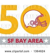 Vector Clip Art of Retro Super Bowl 50 Sports Design with a Football Helmet over Text by Patrimonio