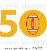 Vector Clip Art of Retro Super Bowl 50 Sports Design with a Football in the Zero by Patrimonio