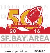 Vector Clip Art of Retro Super Bowl 50 Sports Design with a Football over the Golden Gate Bridge and 2016, Sf Bay Area Text by Patrimonio
