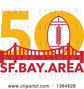 Vector Clip Art of Retro Super Bowl 50 Sports Design with a Football over the Golden Gate Bridge and Text by Patrimonio