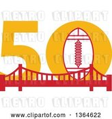 Vector Clip Art of Retro Super Bowl 50 Sports Design with a Football over the Golden Gate Bridge by Patrimonio
