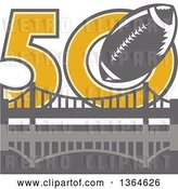 Vector Clip Art of Retro Super Bowl 50 Sports Design with a Gray Football over the Golden Gate Bridge by Patrimonio