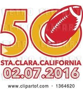 Vector Clip Art of Retro Super Bowl 50 Sports Design with a Red Football over Santa Clara California Text by Patrimonio