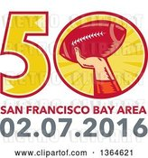 Vector Clip Art of Retro Super Bowl 50 Sports Design with a Woodcut Hand Holding up a Football Above Text by Patrimonio