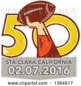 Vector Clip Art of Retro Super Bowl 50 Sports Design with a Woodcut Hand Holding up a Football over Text by Patrimonio