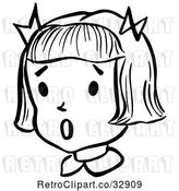 Vector Clip Art of Retro Surprised Girl in by Picsburg