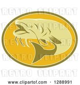 Vector Clip Art of Retro Swimming Catfish in a Green and Orange Oval by Patrimonio